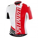 Maillot Cyclisme Manche Courte SPED Equipe Pro SZK Blanc-Rouge 2017 Promotions