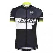 Maillot Cyclisme Manche Courte Santini Atom 2.0 Noir-Blanc-vert 2017 Pas Cher Provence