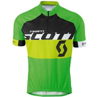 Maillot Cyclisme Manche Courte Scott Equipe Noir-vert 2016 Vendre Lyon