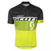 Maillot Cyclisme Manche Courte Scott Equipe Noir-vert-Jaune 2017 Personnalisé