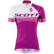 Maillot Cyclisme Manche Courte Scott RC Blanc-violet Femme 2016 Pas Chere