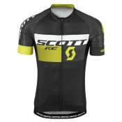 Maillot Cyclisme Manche Courte Scott RC Pro Tec Honeycomb Noir-Jaune 2017 Officiel