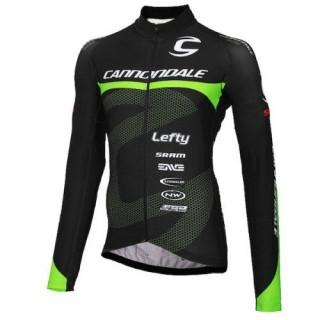 Maillot de Cyclisme Manche Longue Cannondale Factory Equipe Noir-vert 2016 Pas Cher
