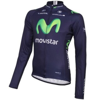 Maillot de Cyclisme Manche Longue Equipe Movistar 2016 à Petits Prix