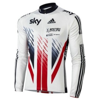 Maillot de Cyclisme Manche Longue Equipe Skу British UK Flag 2016 Achat à Prix Bas