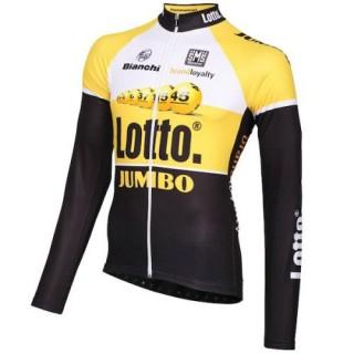 Maillot de Cyclisme Manche Longue Lotto NL-Jumbo Jaune 2016 Pas Cher Nice