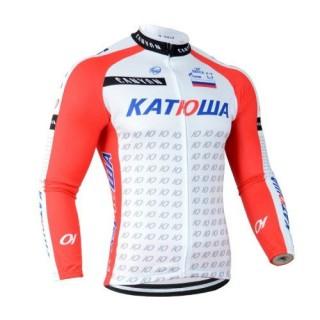 Maillot de Cyclisme Manche Longue Rouge Blanc Katusha Soldes Provence