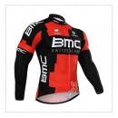 Maillot de Cyclisme Manche Longue Rouge Noir BMC Rabais prix
