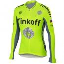 Maillot de Cyclisme Manche Longue TINKOFF SAXO BANK vert Prix En Gros