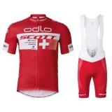Mode Equipement 2017 Scott ODLO Equipe Rouge Tenue Maillot Cyclisme Courte + Cuissard à Bretelles