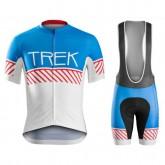 Mode Equipement 2017 Tenue Maillot Cyclisme Courte + Cuissard à Bretelles Bontrager Trek Specter Vintage Blanc-Bleu