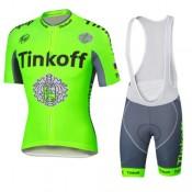 Nouvelle Collection Tenue Maillot Cyclisme Longue + Collant à Bretelles Tinkoff 14