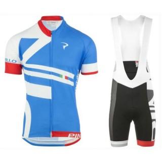 Officielle Equipement 2017 Tenue Maillot Cyclisme Courte + Cuissard à Bretelles Pinarello Bandiera Bleu-Blanc