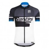 Paris Maillot Cyclisme Manche Courte Santini Atom 2.0 Noir-Blanc-Bleu 2017