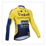 Prix Maillot de Cyclisme Manche Longue Jaune Noir Saxo Bank