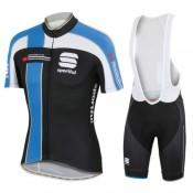 Promotions Equipement 2016 Tenue Maillot Cyclisme Courte + Cuissard à Bretelles Spоrtful Noir et Bleu