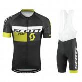 Promotions Equipement 2017 Tenue Maillot Cyclisme Courte + Cuissard à Bretelles Scott RC Pro Tec Honeycomb Noir-Jaune