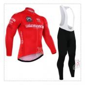Promotions Giro de italie 2017 Tenue Maillot Cyclisme Longue + Collant à Bretelles Rouge