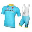 Rabais 2016 Equipe Astana Tenue Maillot Cyclisme Courte + Cuissard à Bretelles