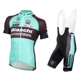 Site Officiel Equipement 2017 Tenue Maillot Cyclisme Courte + Cuissard à Bretelles Bianchi MTB vert Prix
