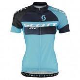 Site Officiel Maillot Cyclisme Manche Courte Scott RC Pro Tec Honeycomb Noir-Bleu Femme 2017 Prix
