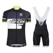 Solde Equipement 2017 Tenue Maillot Cyclisme Courte + Cuissard à Bretelles Santini Atom 2.0 Noir-Blanc-vert