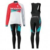 Soldes Equipement 2016 Scott RC Rouge-Blanc Femme Tenue Maillot Cyclisme Longue + Collant à Bretelles