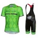 Soldes Equipement 2017 Tenue Maillot Cyclisme Courte + Cuissard à Bretelles Cannondale-Garmin Equipe Pro vert