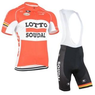 Tenue Maillot Cyclisme Courte + Cuissard à Bretelles LOTTO Orange Réduction Prix