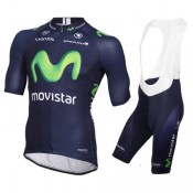 Tenue Maillot Cyclisme Courte + Cuissard à Bretelles Movistar Equipe 2016 Vendre