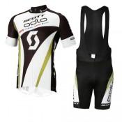Tenue Maillot Cyclisme Courte + Cuissard à Bretelles Scott Blanc Noir Site Officiel France