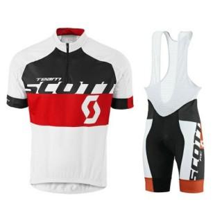 Tenue Maillot Cyclisme Courte + Cuissard à Bretelles Scott Equipe Blanc-Noir-Rouge 2016 Original