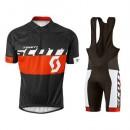Tenue Maillot Cyclisme Courte + Cuissard à Bretelles Scott Equipe Noir-Rouge 2016 Nouvelle
