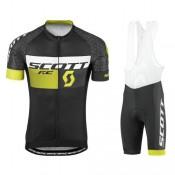 Tenue Maillot Cyclisme Courte + Cuissard à Bretelles Scott RC Pro Tec Honeycomb Noir-Jaune 2017 Faire une remise