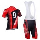 Tenue Maillot Cyclisme Courte + Cuissard à Bretelles Scott Rouge Noir Soldes Provence