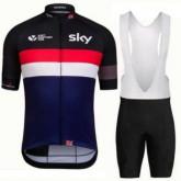 Tenue Maillot Cyclisme Courte + Cuissard à Bretelles Sky Noir Rouge Blanc Soldes France