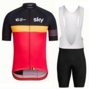 Tenue Maillot Cyclisme Courte + Cuissard à Bretelles Sky Rouge Noir Jaune Prix En Gros