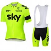 Tenue Maillot Cyclisme Courte + Cuissard à Bretelles Sky la Vente à Bas Prix