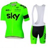 Tenue Maillot Cyclisme Courte + Cuissard à Bretelles Sky vert Promos Code