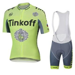 Tenue Maillot Cyclisme Courte + Cuissard à Bretelles Tinkoff à Petit Prix