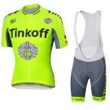 Tenue Maillot Cyclisme Courte + Cuissard à Bretelles Tinkoff vert PasCher Fr