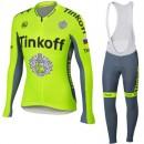 Tenue Maillot Cyclisme Longue + Collant à Bretelles TINKOFF Pas Chère