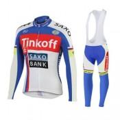 Tenue Maillot Cyclisme Longue + Collant à Bretelles TINKOFF SAXO BANK 2 en Promo