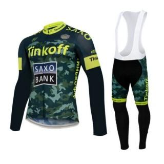 Tenue Maillot Cyclisme Longue + Collant à Bretelles TINKOFF SAXO BANK 4 Rabais en ligne