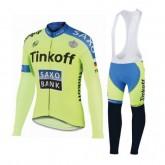 Tenue Maillot Cyclisme Longue + Collant à Bretelles TINKOFF SAXO BANK 7 Commerce De Gros