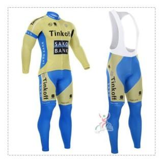 Tenue Maillot Cyclisme Longue + Collant à Bretelles TINKOFF SAXO BANK Bonnes Affaires