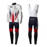 Vente Equipement 2016 Equipe Skу British UK Flag Tenue Maillot Cyclisme Longue + Collant à Bretelles