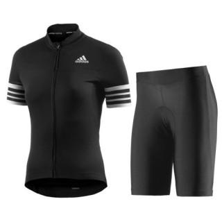 Vente Nouveau Equipement 2017 Aero Femme Noir Tenue Maillot Cyclisme Courte + Cuissard Cycliste