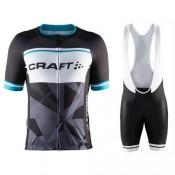Vente Nouveau Equipement 2017 Tenue Maillot Cyclisme Courte + Cuissard à Bretelles Craft Classic Logo Noir-Blanc
