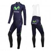 Vente Nouveau Tenue Maillot Cyclisme Longue + Collant à Bretelles Equipe Movistar 2016